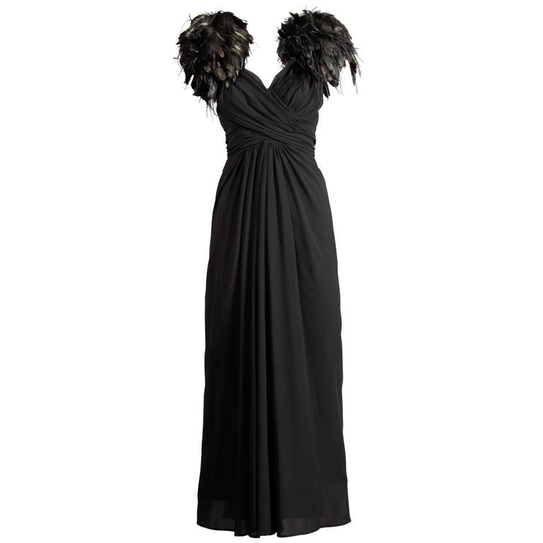 1970s Lilli Diamond Vintage Black Feathers Gown For Sale
