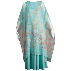 1970s Vintage Asian-Inspired Chiffon Caftan Maxi Dress