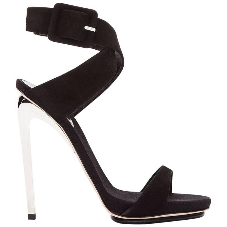 Giuseppe Zanotti Black Suede and Silver Alien 115 Heels Shoes