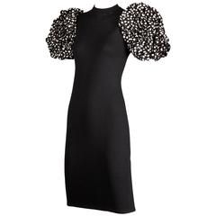 1980s St. John Vintage Black Knit Dress with Huge Polka Dot Silk Sleeves
