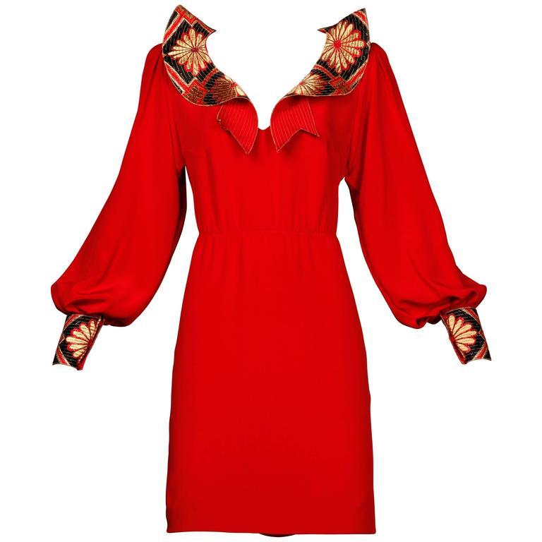 Amen Wardy Vintage Asian-Inspired Red Silk Dress with Rhinestones
