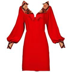 Amen Wardy Vintage Asian-Inspired Red Silk Dress with Rhinestones