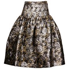 1980s Valentino Vintage Metallic Silver + Gold Brocade Skirt