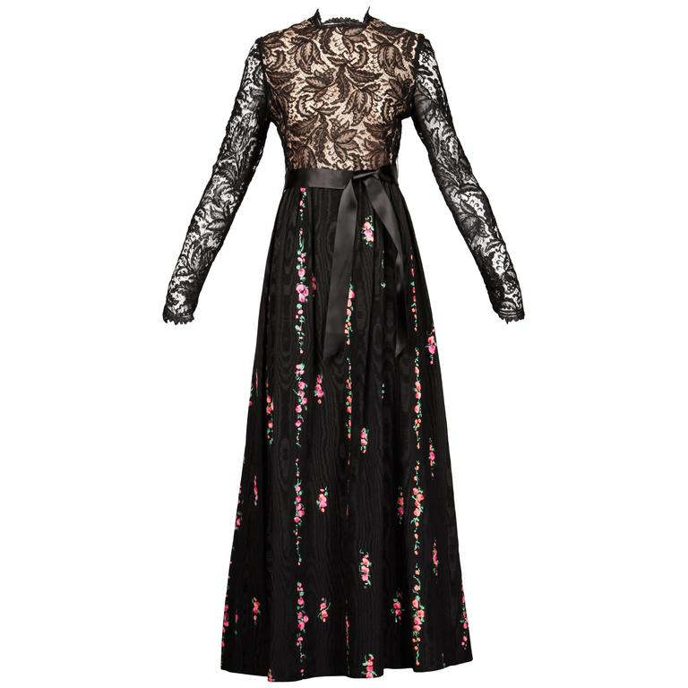 Richilene Vintage Black Lace Hand-Painted Silk Dress with Tags, 1970s   For Sale