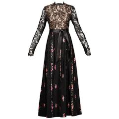 Richilene Vintage Unworn 1970s Black Lace Hand-Painted Silk Dress with Tags