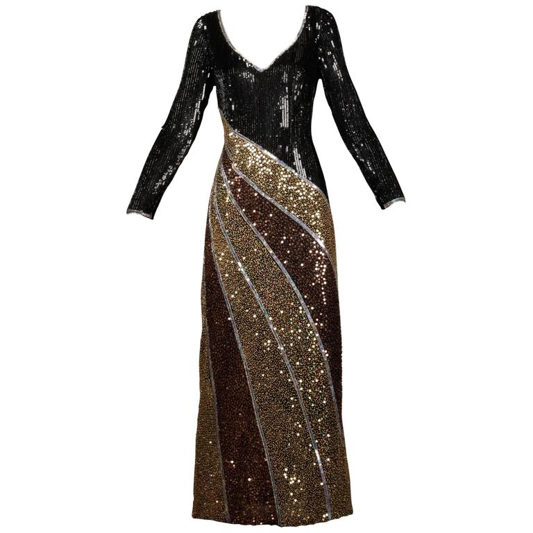 97ecef596e7d Naeem Khan Vintage Metallic Sequin + Beaded Silk Dress or Gown For Sale