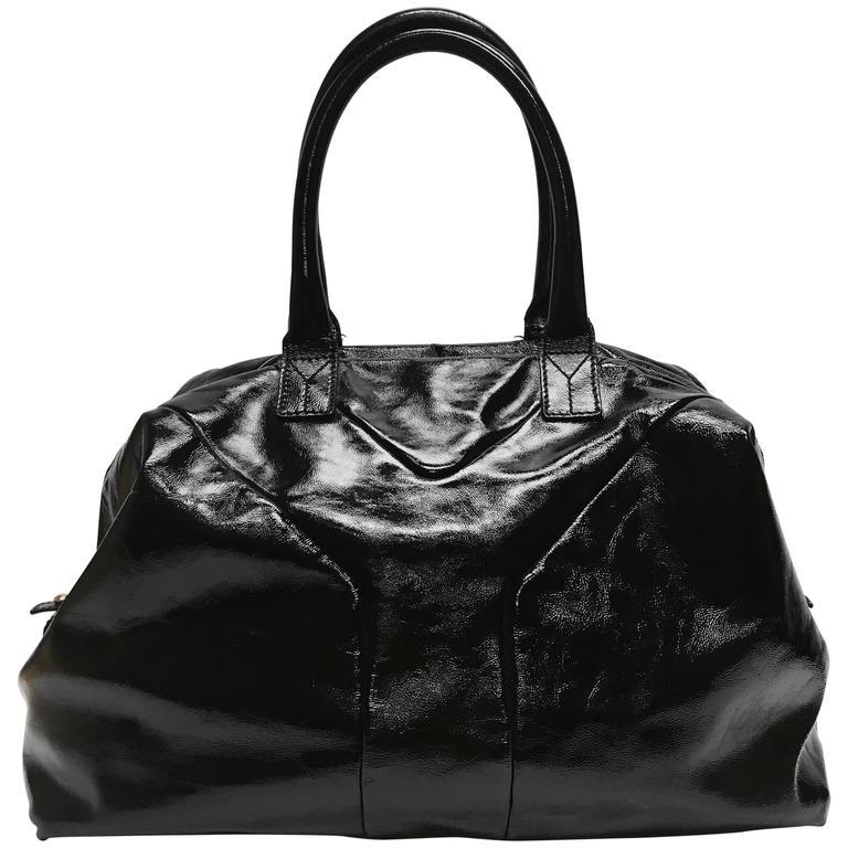 Yves Saint Laurent Easy Y Patent Medium Black Satchel At