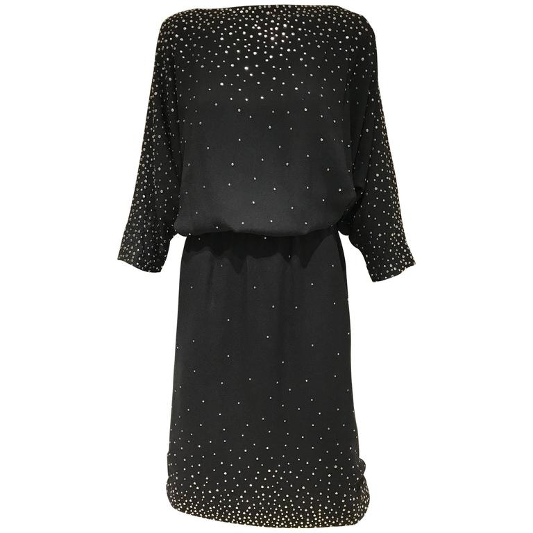 1980s HALSTON Black Crepe Studded Cocktail Vintage 80s Dress
