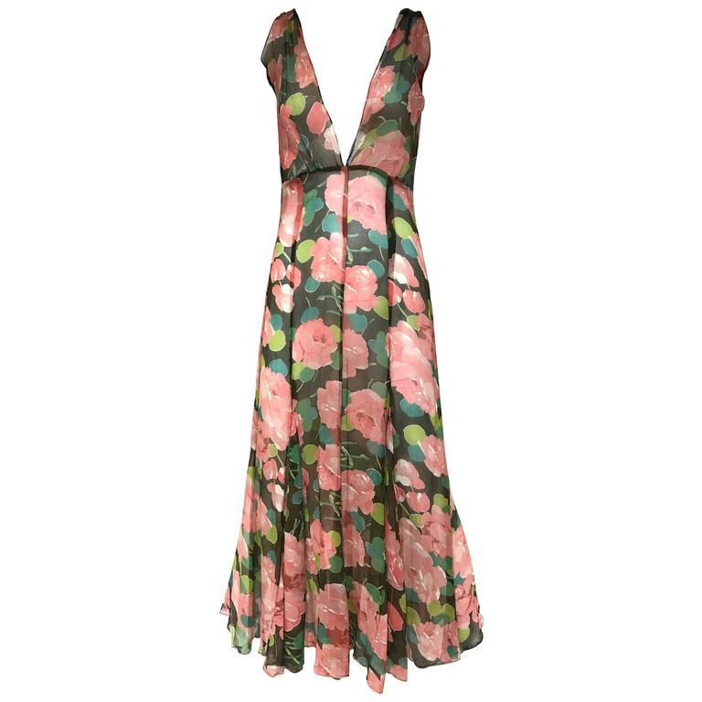 1930s Peach and Green Floral Print Silk Dress
