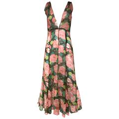 1930s Peach and Green Floral Print Silk Dress