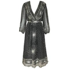 1970s Black Silk Dress with Silver Sequin