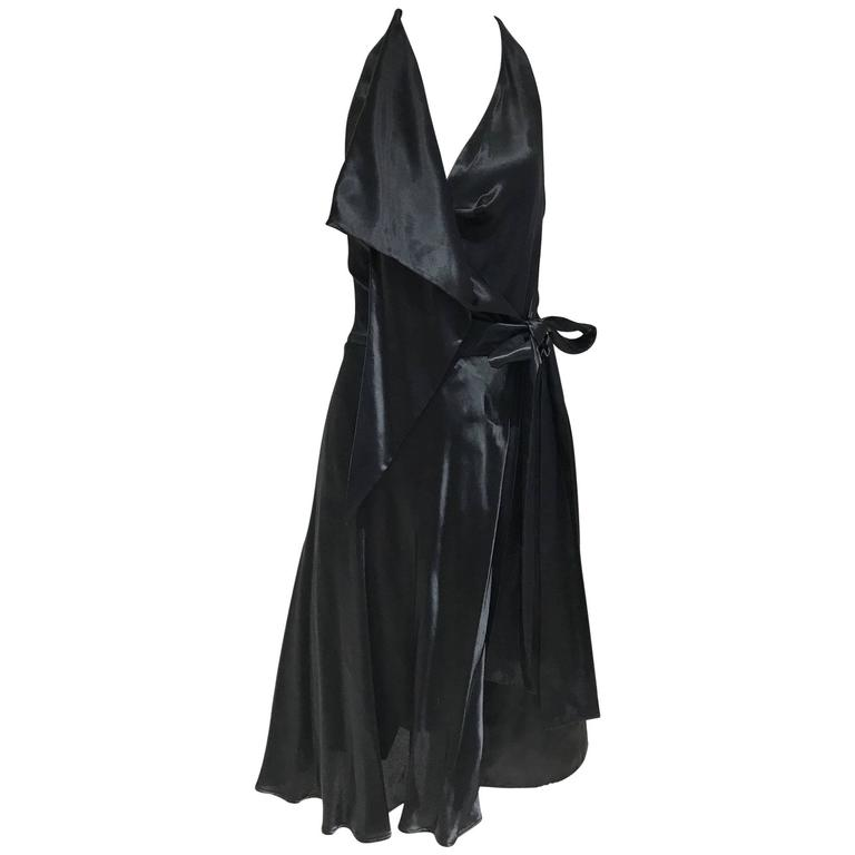 Vintage VIVIENNE WESTWOOD 1990s Black Silk Halter Wrap Dress