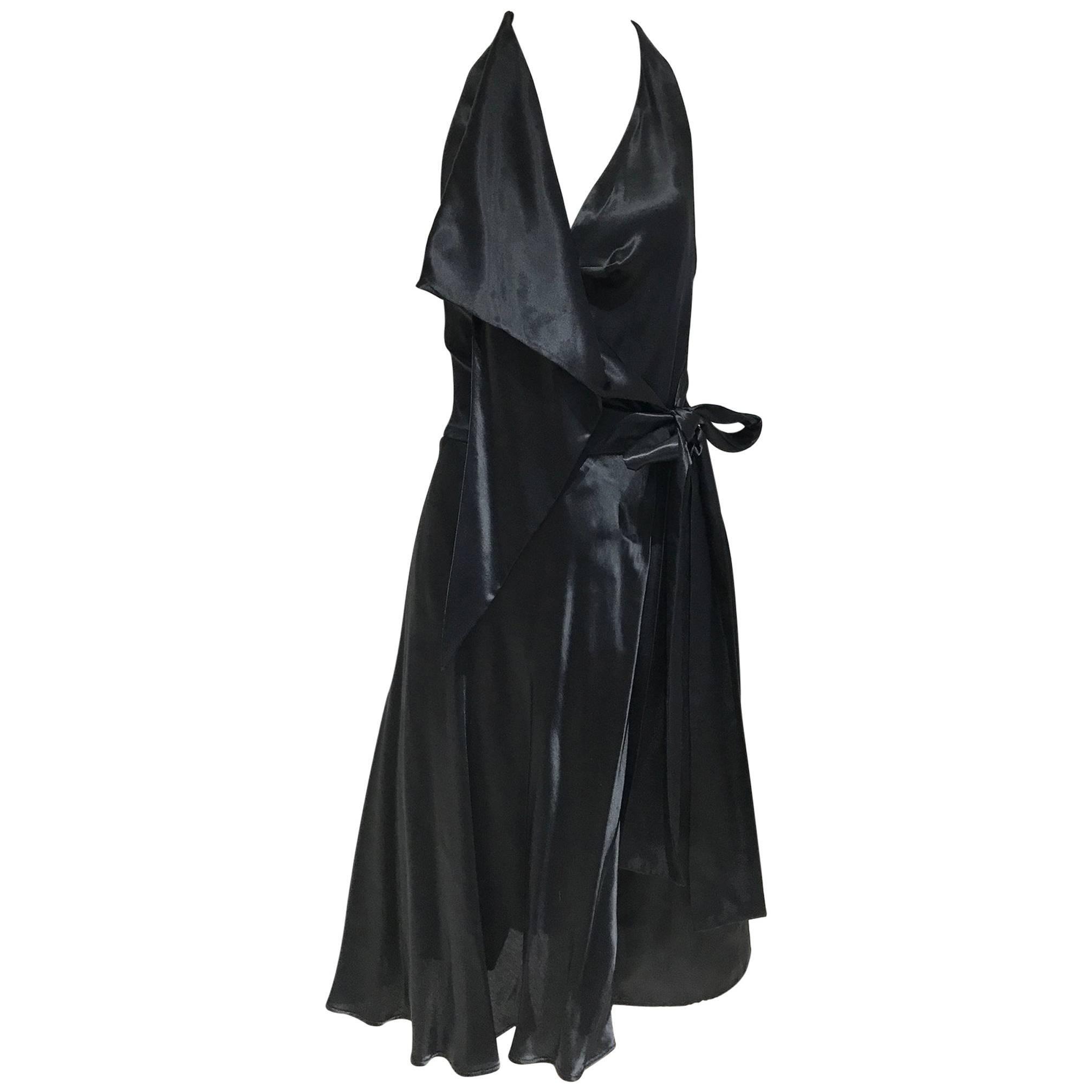 Vintage VIVIENNE WESTWOOD 1990s Black Silk Halter Wrap Dress