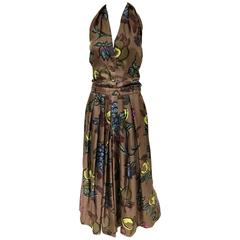 1950s Brown Silk Floral Print Halter Cocktail vintage Dress
