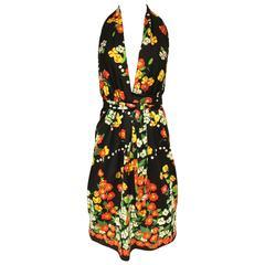 1970s Oscar De La Renta floral print halter jersey dress
