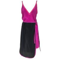 Vintage Muriel Grateau Pink and Black Silk Dress ensemble