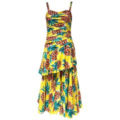 Vintage LOUIS FERAUD Yellow Pineapple Print Cotton Spaghetti Stap Summer Dress