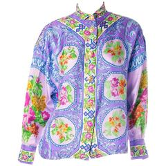 Gianni Versace Rare Silk Floral Lace Cutwork Baroque Shirt