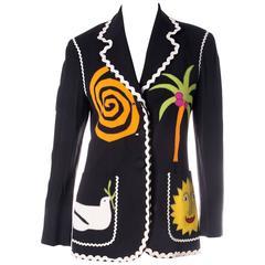 Vintage Moschino Applique Wreath Blazer Jacket
