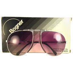New Vintage Bogner By Eschenbach 7004 11 Silver Matte Roger Moore 007 Sunglasses