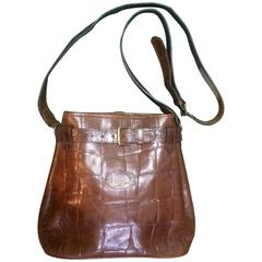 Vintage Mulberry brown croc-embossed leather shoulder bucket hobo bag Roger Saul