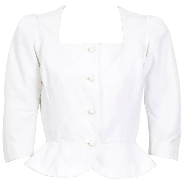 Yves Saint Laurent 1970's White Fitted Cotton Peasant Top