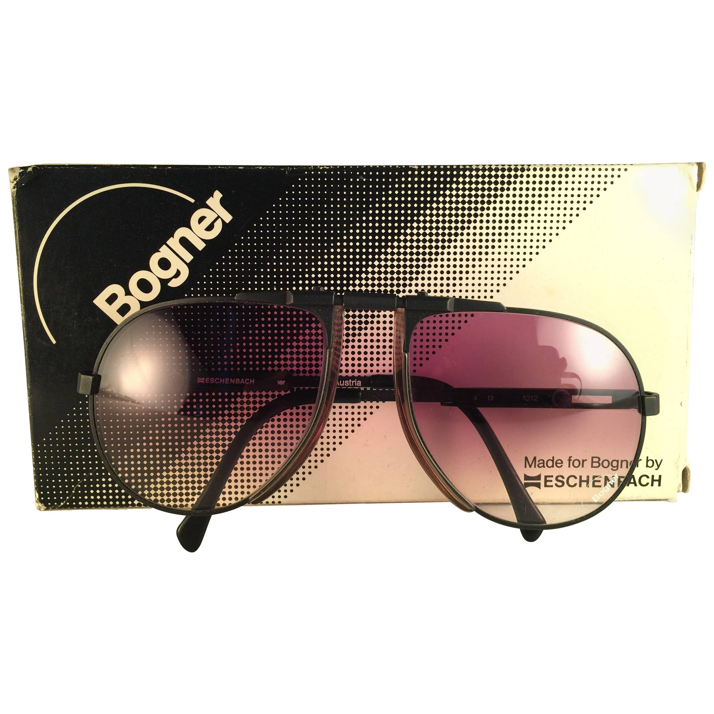 New Vintage Bogner By Eschenbach 7001 Large Black Matte Roger Moore  Sunglasses