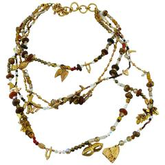 Christian Lacroix Vintage Multi Strand Beaded Charms Necklace