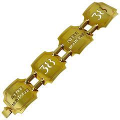 """Celine Vintage """"38 Avenue Montaigne"""" Gold Toned Cuff Bracelet"""