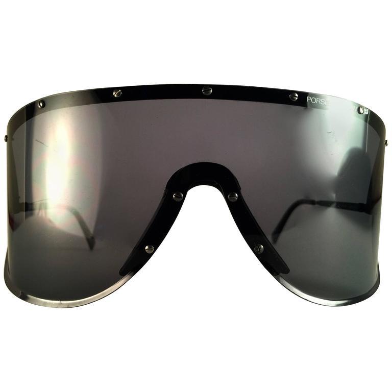 3bc4d35f5de0 Mint Vintage Porsche Design 5620 Black Shield Collector Yoko Ono Sunglasses  For Sale