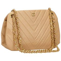 Chanel Beige Lambskin Leather Chevron Gold Chain Shoulder Bag