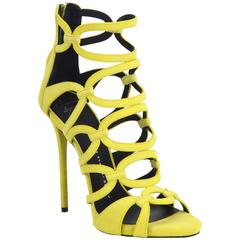 Giuseppe Zanotti New & SOLD OUT Yellow Suede Cut Out Heels Sandals in Box