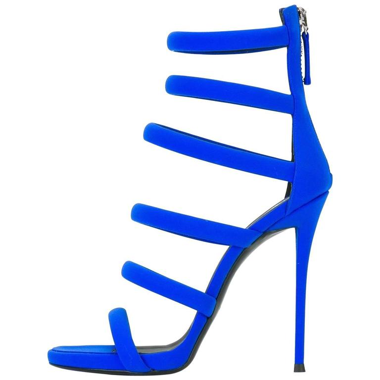 Giuseppe Zanotti New Blue Cut Out Strappy Evening Sandals Heels in Box