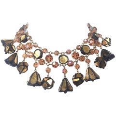 A large talousel, glass bead and coloured mirror drop necklace, France, 1960s