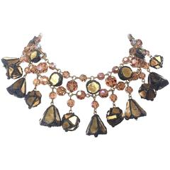 Dynamic talousel, glass bead and coloured mirror drop necklace, 1960s