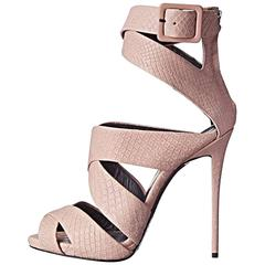 Giuseppi Zanotti New & Sold Out Blush Pink Leather Emboss Sandals Heels in Box