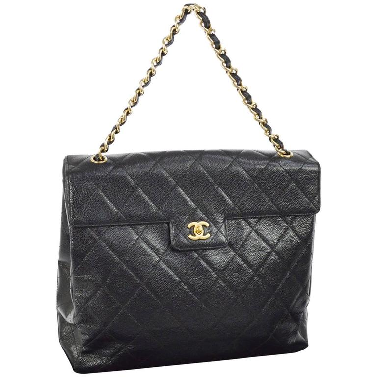 39d6c49391d186 Chanel Black Caviar Leather Large Kelly Style Top Handle Tote Shoulder Flap  Bag For Sale