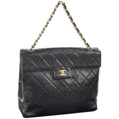 Chanel Black Caviar Leather Large Kelly Style Top Handle Tote Shoulder Flap Bag