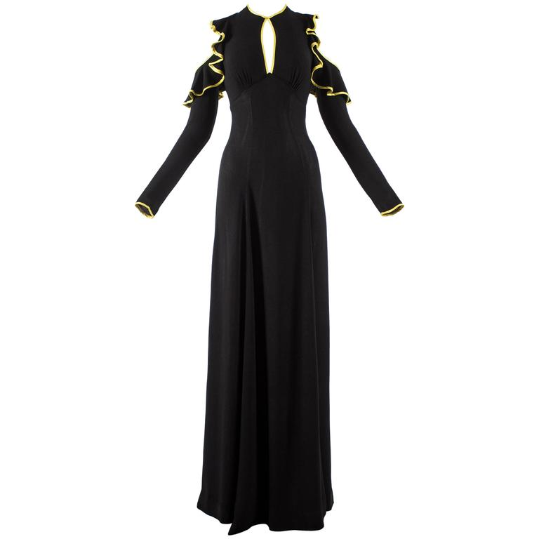 Ossie Clark 1968 black moss crepe evening dress with yellow satin trim