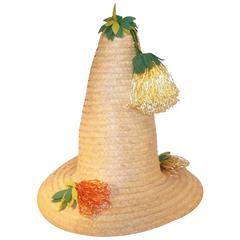 Whimsical 1950's Conical Novelty Straw Beach Hat