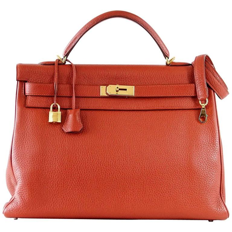 Hermes Kelly Retourne 40 Bag Red Rouge Garrance Togo Gold Hardware