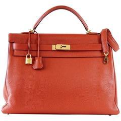 Hermes Kelly Retourne 40 Bag Red Rouge Garrance Togo Gold Hardware