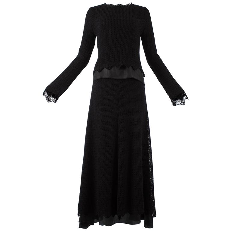 Maison Martin Margiela early 1990s black crochet wool and satin skirt suit