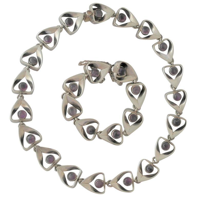 Emma Taxco Sterling Silver Amethysts Necklace Bracelet Set