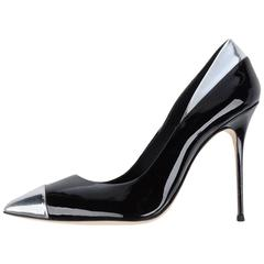 Giuseppe Zanotti New Black Silver Accent Patent Evening High Heels Pumps in Box