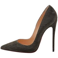 Christian Louboutin New Black Gold Glitter So Kate High Heels Pumps in Box
