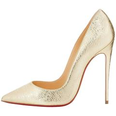 Christian Louboutin New Light Gold Leather So Kate Evening Heels Pumps in Box