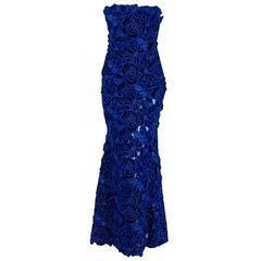 2015 Givenchy Haute-Couture Cobalt Blue Velvet Applique Strapless Fishtail Gown