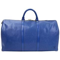 Vintage Louis Vuitton Keepall 50 Blue Epi Leather Duffle Travel Bag