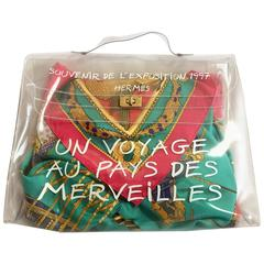 Vintage Hermes a rare transparent clear vinyl Kelly bag, Japan limited Edition.